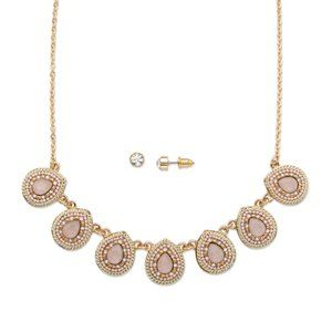 Jewelry - Pink Crystal Gold-Plated Necklace and Earring Set
